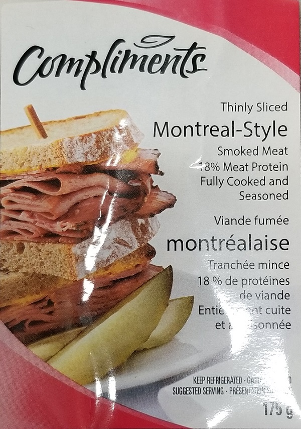 Compliments – Montreal Style Smoked Meat – 175 grams