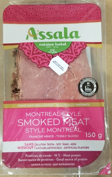 Assala brand Montreal Style Smoked meat, 150 g - front