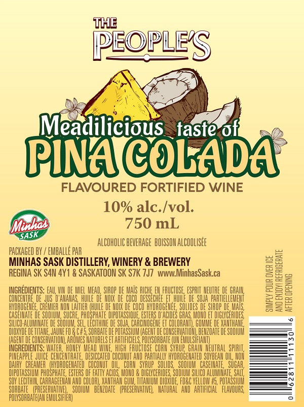 The People's – « Meadilicious taste of Pina Colada flavoured fortified wine » – 750 mL (étiquette)