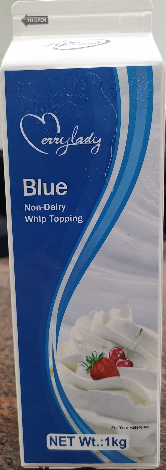 Merrylady – Non-Dairy Blue Whip Topping – 1 kg (front)