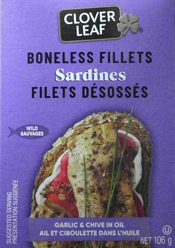 Clover Leaf– Sardines Boneless Fillets– Garlic & Chive in Oil– 106 grams (front)