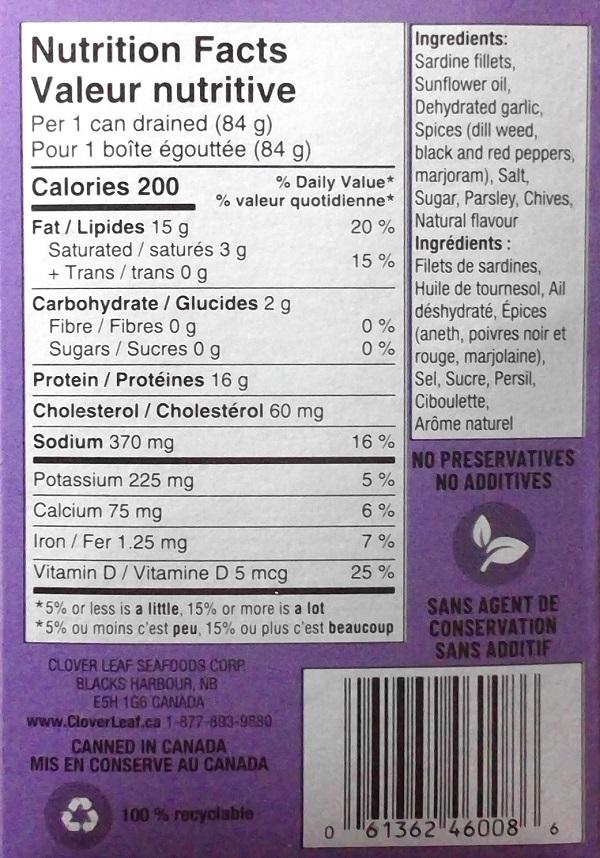 Clover Leaf– Sardines Boneless Fillets– Garlic & Chive in Oil– 106 grams (back)