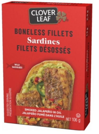 Clover Leaf – Sardines Boneless Fillets – Smoked Jalapeño in Oil – 106 grams(front)