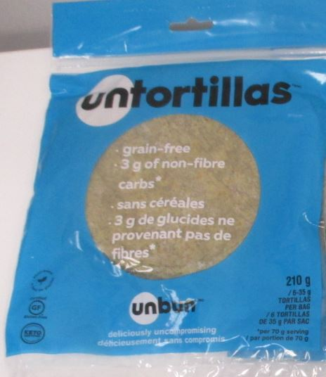 unbun – untortillas – 210 grams (front)
