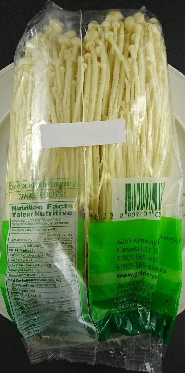 Golden Mushroom– Enoki Mushrooms– 200 grams (back)