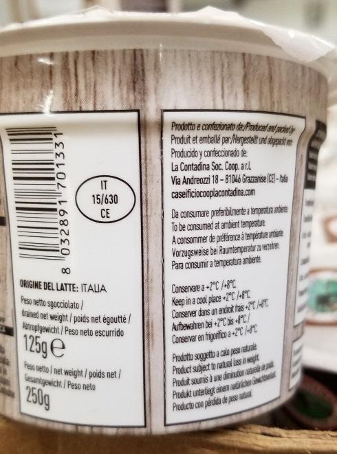 La Bella Contadina – Burrata Nadi con latte di bufala (cheese) – 125 grams (side)