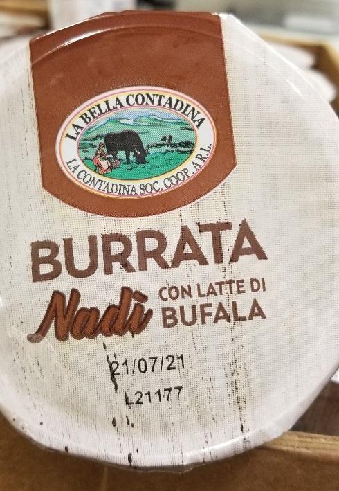 La Bella Contadina – Burrata Nadi con latte di bufala (cheese) – 125 grams (lot code)