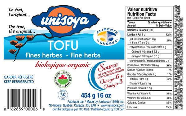 Unisoya - Organic Tofu - Fine Herbs - 454 grams - label